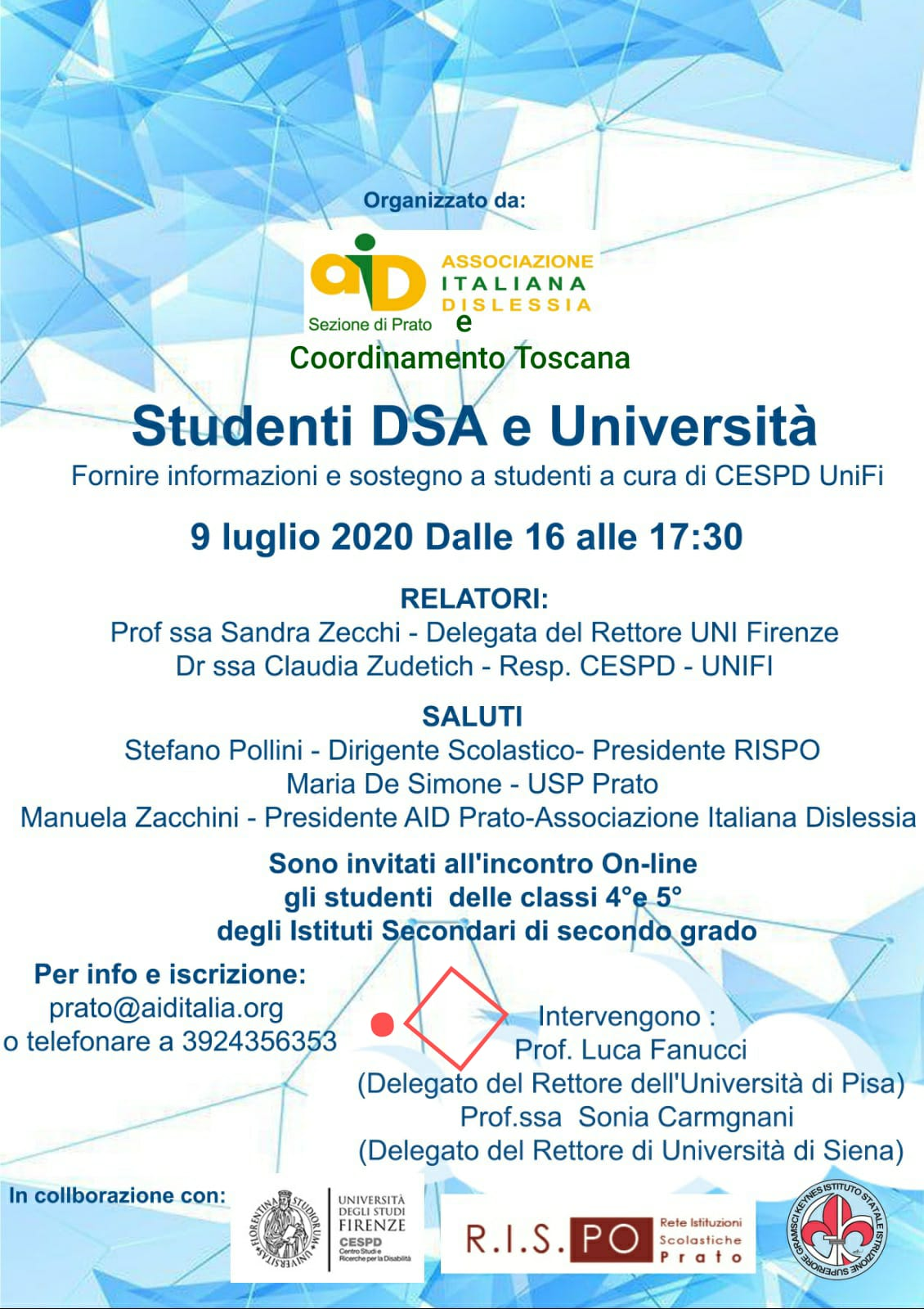 Studenti con DSA e Università: incontro informativo online