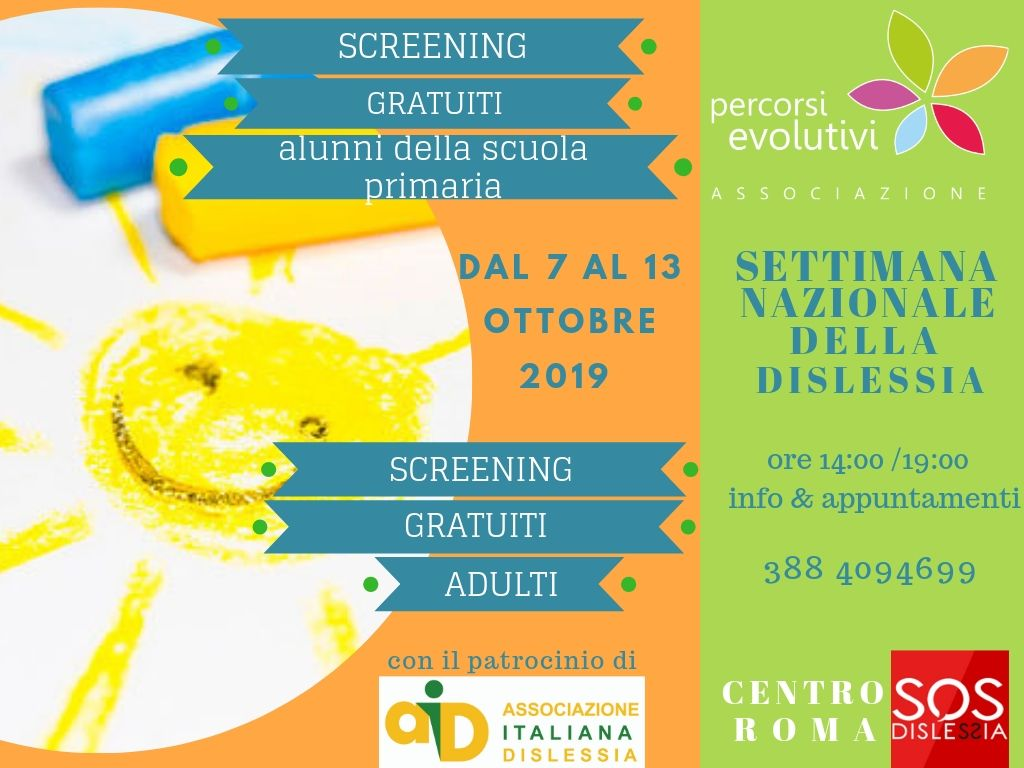 SCREENING GRATUITI DISLESSIA